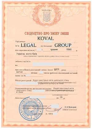 Купити дублікат свідоцтва про зміну прізвища та імені